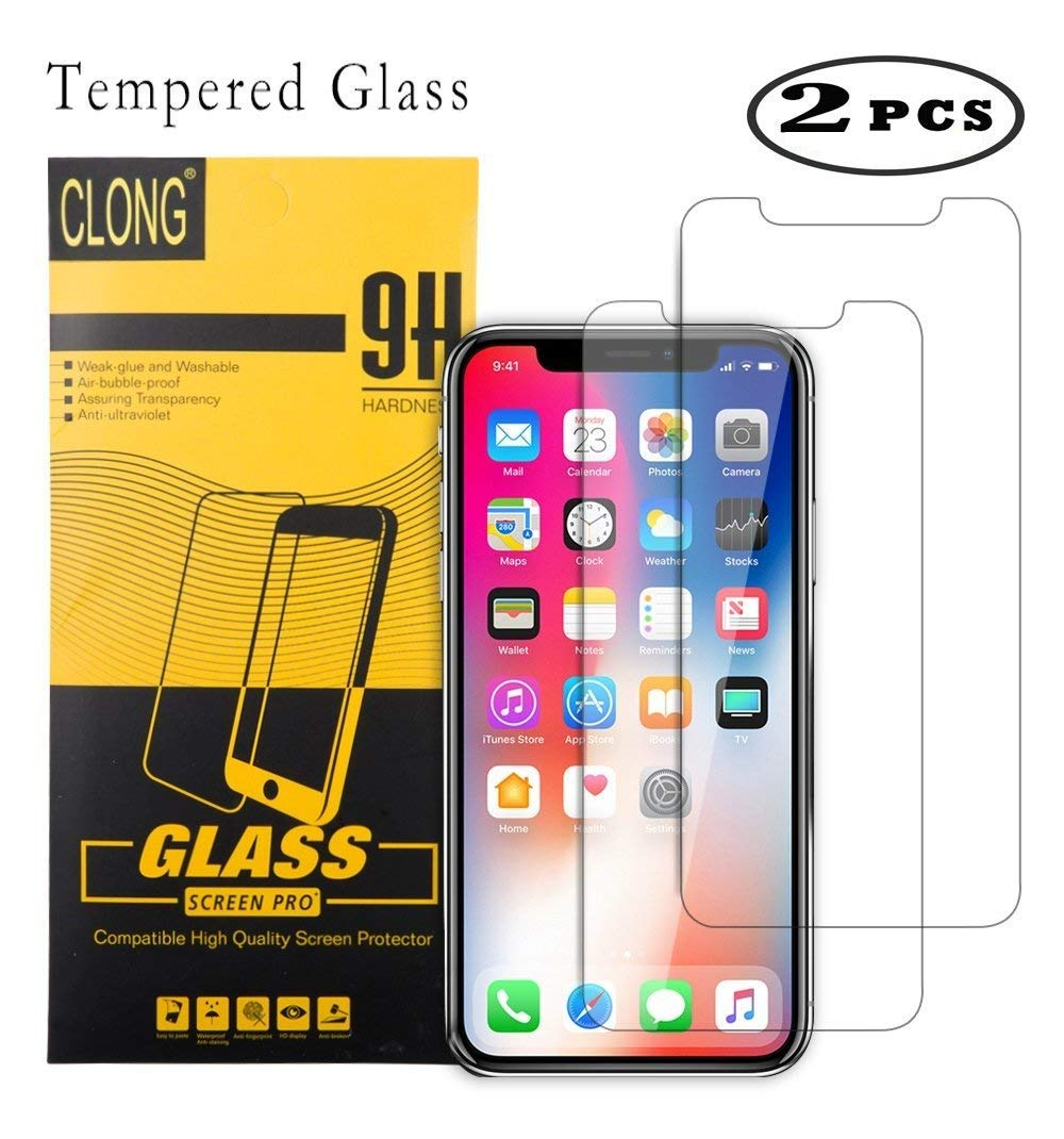 iPhone X Screen Protector, CLONG iPhone X Tempered Glass Screen Protector for Apple iPhone X (2017) 5.8inch - (2 Pack) - HD Clear