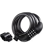Titanker Bike Lock Cable, 4-Feet Bike Cable Basic Self Coiling Resettable Combination Cable Bike Locks with Complimentary Mounting Bracket, 1/2 Inch Diameter
