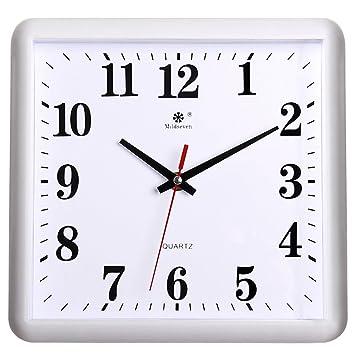 AIZIJI Reloj de Pared electrónica Cuadrados Silencio Dibujo Relojes Inicio Creatividad Arte Moderno wannian Calendario Reloj de Cuarzo 30x33cm: Amazon.es: ...