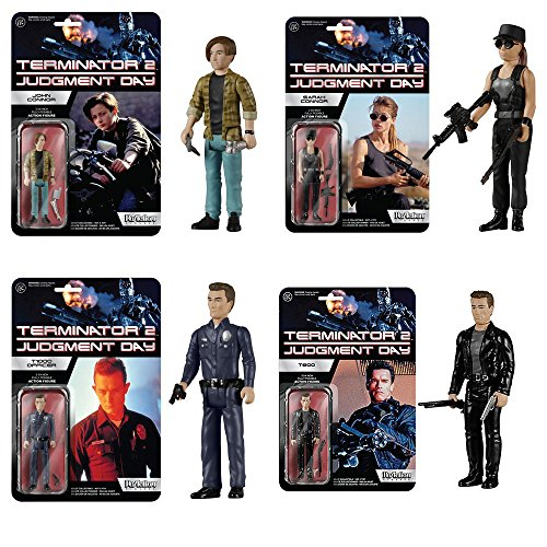 (Terminator 2 Sarah Connor, Terminator, John Connor,T-1000 ReAction 3 3/4-Inch Retro Action Figures Set of)