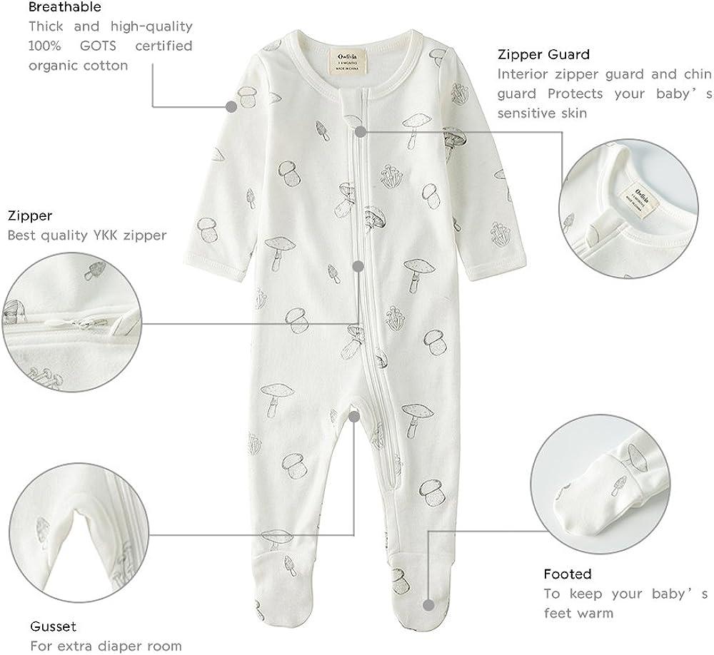 Long Sleeve Owlivia Organic Cotton Baby Boy Girl Zip Front Sleep N Play Footed Sleeper