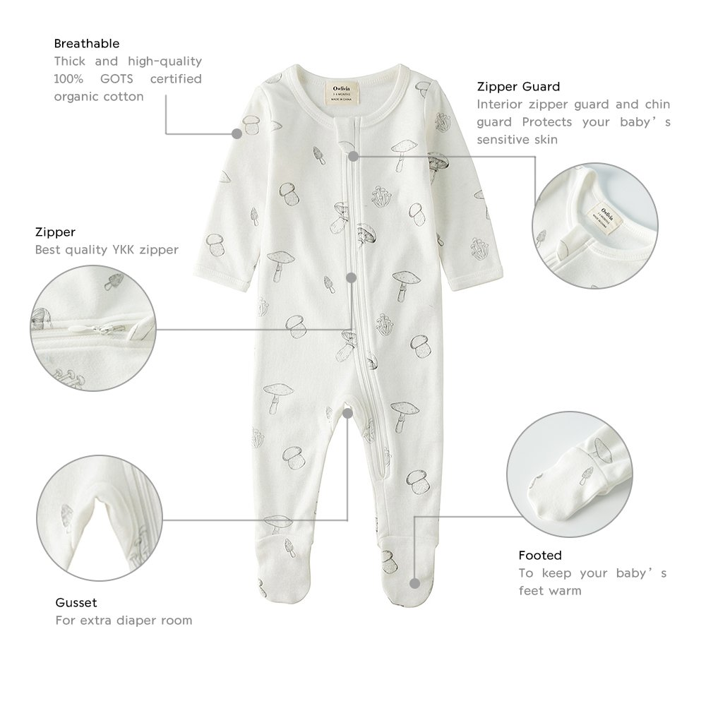 Owlivia Organic Cotton Baby Boy Girl 2 Pack Zip Front Sleep 'N Play, Footed Sleeper, Long Sleeve (Size 0-18 Month)(12-18Months,Star+Mushroom) by Owlivia (Image #2)
