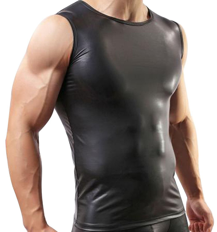 Mendove Men's Black Leather Sleeveless Vest Undershirt