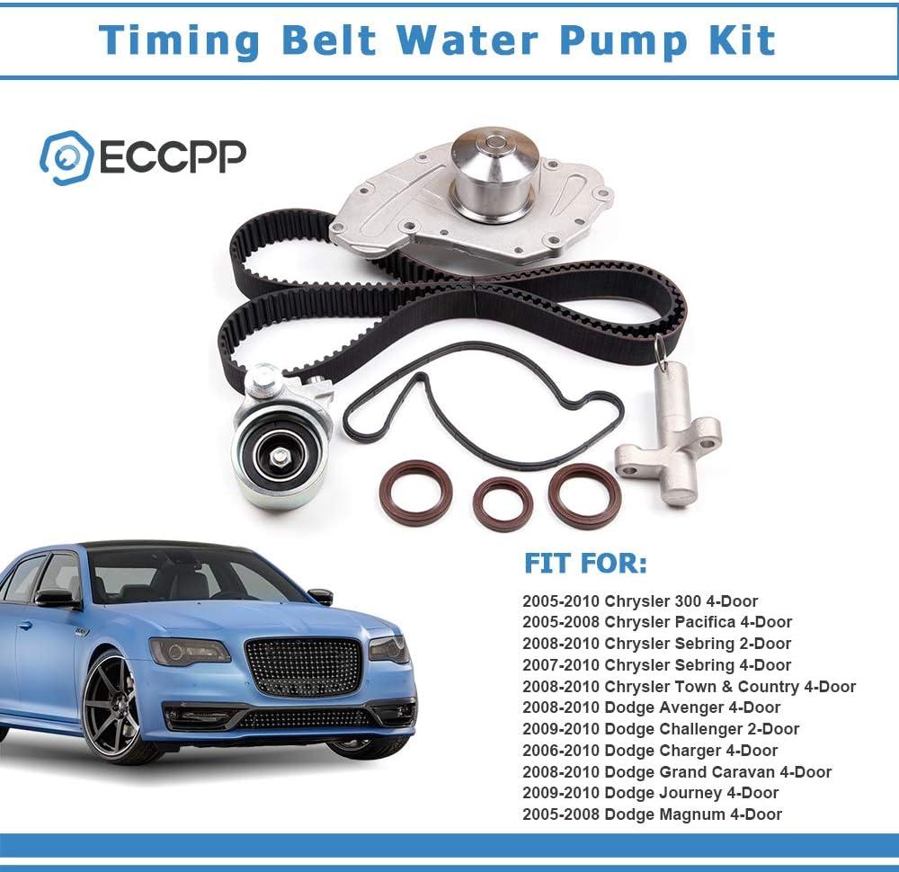 ECCPP New Timing Belt Water Pump Kit Fit 2005-2010 Chrysler Sebring Town Country Dodge Avenger Charger Volkswagen Routan 3.5L 4.0L V6 SOHC VIN Code M X G S V
