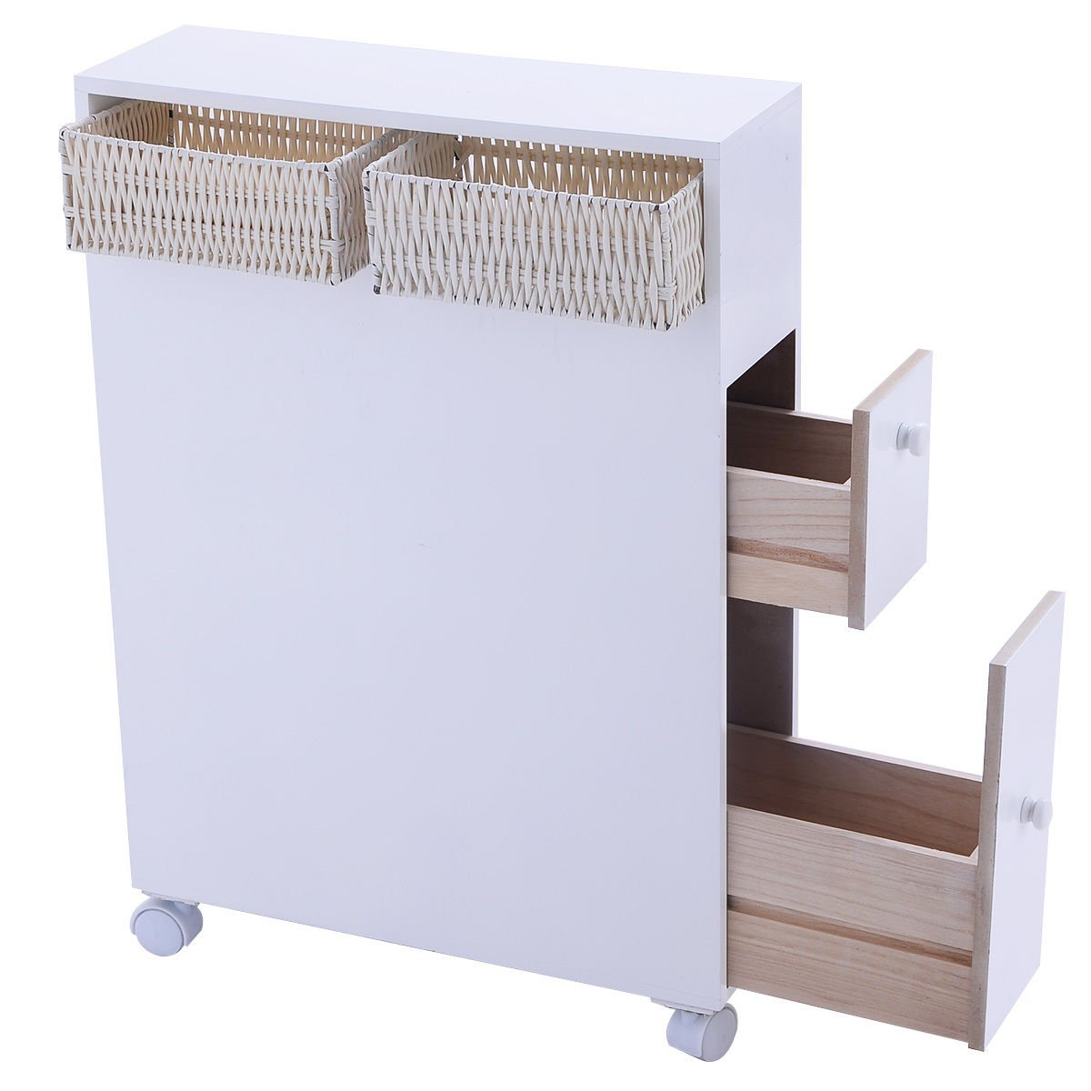 TANGKULA Bathroom Storage Wood Bathroom Rolling Floor Cabinet Wooden Floor Home Bath Toilet Organizer Floor Storage Cabinet with Drawers and Baskets, White (White)