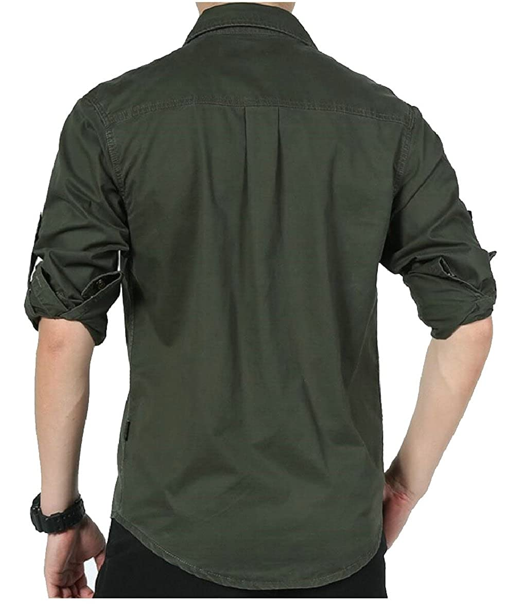 FLCH+YIGE Mens Long Sleeve Button Down Military Style Shirt with Pocket