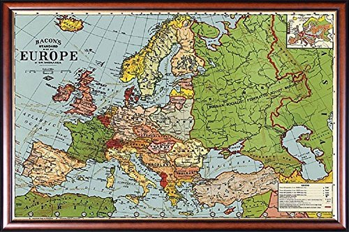- FRAMED Europe Map - Standards Vintage Replica 18x27.5 Dry Mounted in Executive Series Walnut Wood Frame With Gold Lip - Crafted in USA