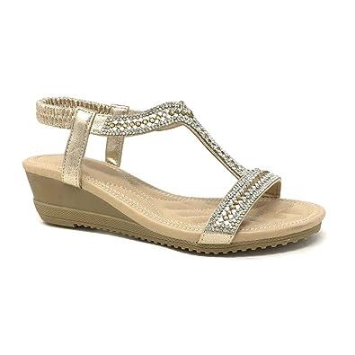 8906d64978 Angkorly - Chaussure Mode Sandale salomés Petits Talons Souple Femme  Diamant Strass lanière Talon compensé 4.5
