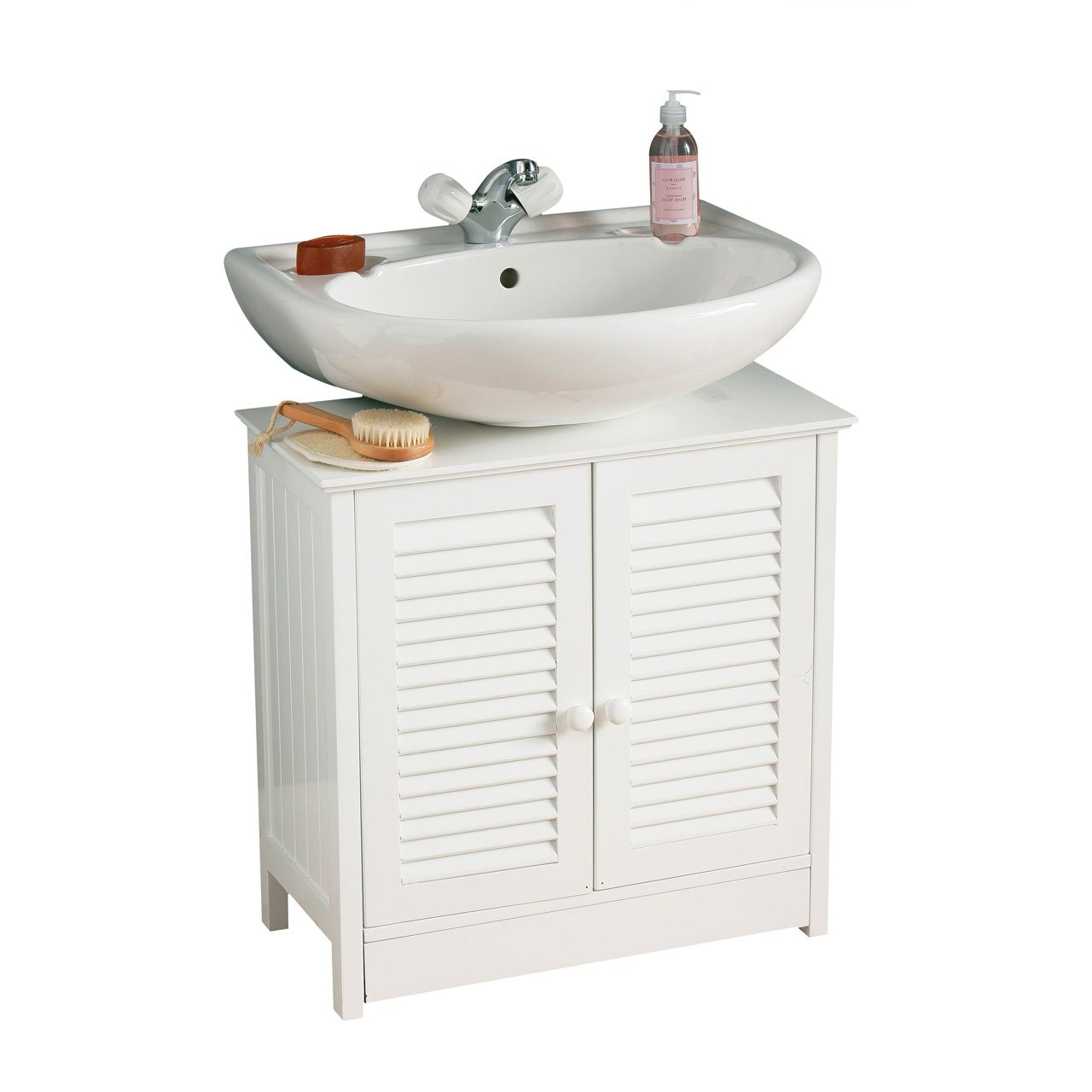 Premier Housewares Meuble sous-lavabo Double porte Blanc 60 x 60 x 30 cm