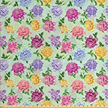 Dahlia Flower Decor Fabric by the Yard by Ambesonne, Vibrant Victorian Renaissance Medieval Motifs Retro Ombre Floret Design, Decorative Fabric for Upholstery and Home Accents, Multi