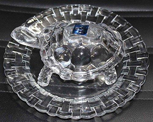 Tortoise Crystal - Creativegifts Crystal Tortoise in Plate 10x10 inch Feng Shui Vastu - Best Gift for Career and Luck + Free Rudraksha Bracelet