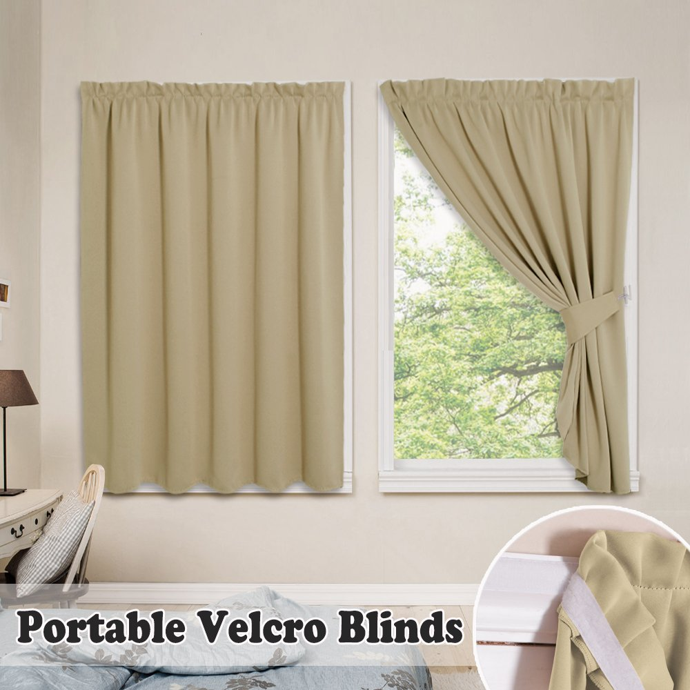 PONY DANCE Beige Privacy Blinds - Vertical Shades Magic Strips Light Block Thermal Window Pleated Curtains No Pole & Track Need Easy Install Portable Drapes 2 Tiebacks, 40 x 54 in, Set of 2