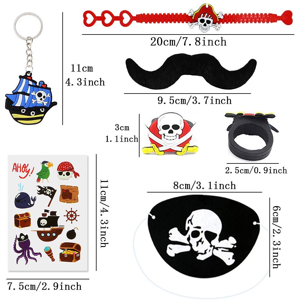 BabyCareV 88Pcs Piraten Mitgebsel Set Piraten Party zubeh/ör Piraten Schl/üsselanh/änger Piraten Ringe Piraten Armband Piraten Tattoos f/ür Kindergeburtstag Halloween Preise