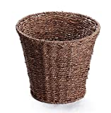 Wly&Home Goods Waste Bin - Woven Waste Paper Basket For Bedroom, Kitchen, Bathroom Or Office - Seagrass Trash Can - Versatile Wastebasket For Garbage And Rubbish,Wood