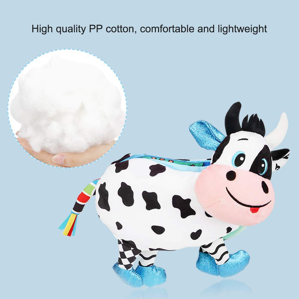 Infants and Kids Toddler Cow LO HOME Baby Soft Book Cloth Books Non-Toxic Fabric Babys First Book Early Education Toys Activity Crinkle Animals Books for Babies