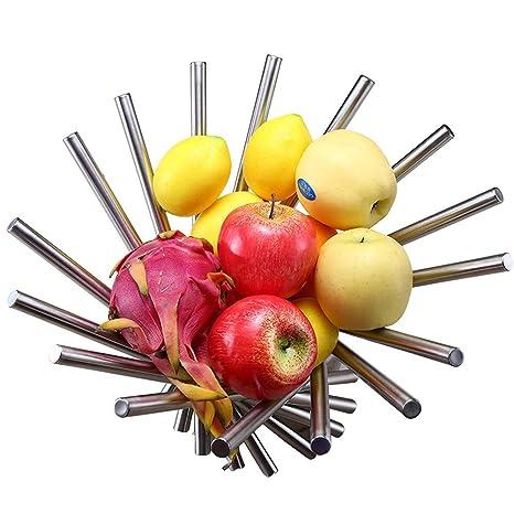 Apark Frutero - Creativo Frutero plegable de acero inoxidable - 38 x 20 cm Moderno antioxidante giratoria Cesta de frutas como decoración para la ...