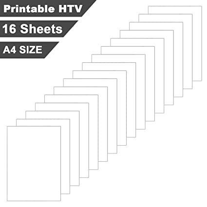 image regarding Printable Htv Vinyl identify Printable Htv Vinyl for Inkjet Printer Iron-Upon Warm Move Vinyl Sheets A4 Measurement for T-Shirts or Materials (16 Sheets/White)