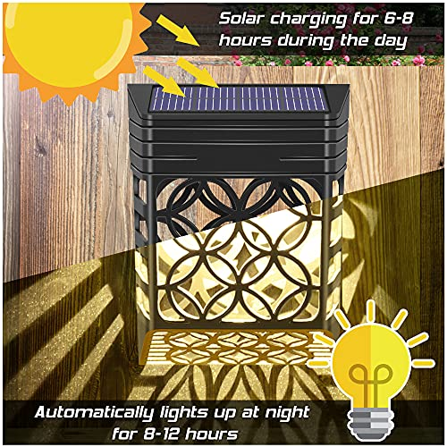 Solarleuchten für Außen, [4 Stück] Solar Wandleuchte Aussen, Wetterfeste Solar zaun beleuchtung, Solar-Zaunleuchten für Terrasse Hof und Einfahrt, Zaun, Terrasse, Haustür, Treppe, Landschaft