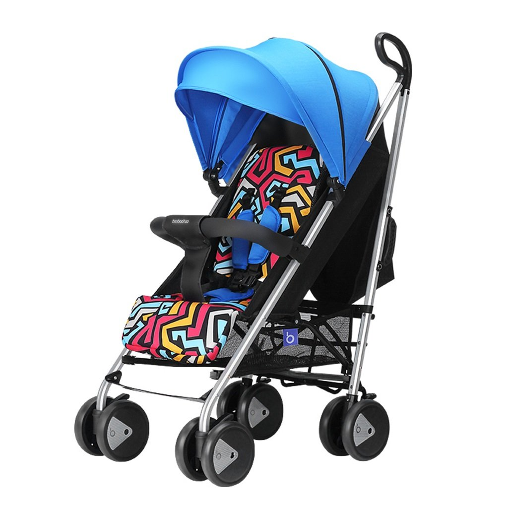 HAIZHEN マウンテンバイク 赤ちゃんカート赤い青座って軽いラバーサスペンションホイールアルミ合金フレームFoldable調節可能なサンシェードサンプロテクションアンチUVベビーキャリッジ75 * 48 * 106センチメートル 新生児 B07DL9PPZF 青 青