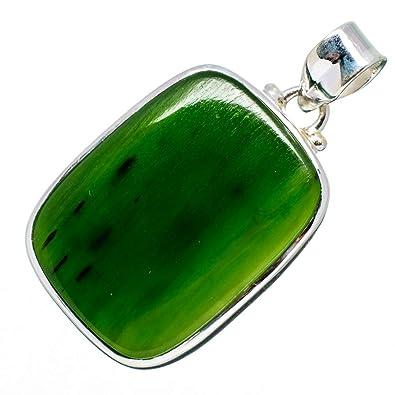 Amazon nephrite jade pendant 1 58 925 sterling silver nephrite jade pendant 1 58quot 925 sterling silver handmade boho aloadofball Choice Image