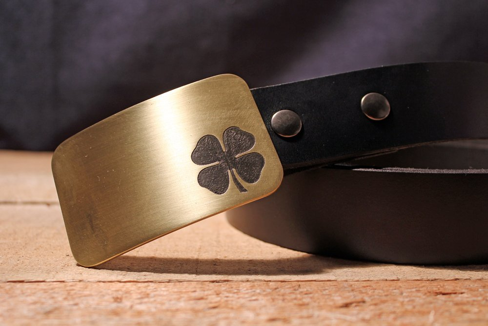 Four Leaf Clover LUCKY Irish Etched Metal Belt Buckle