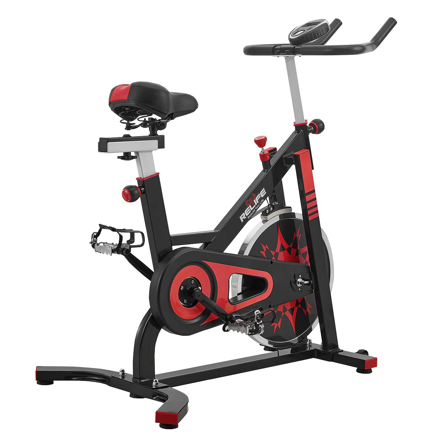 RELIFE REBUILD YOUR LIFE Spin Bike Stationary Indoor Cycling Gym Resistance Workout Home Gym Fitness Machine Exercise Bike by RELIFE REBUILD YOUR LIFE (Image #1)