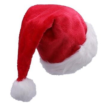 Amazoncom Mskei Plush Santa Hat for Adults Red Velvet Christmas