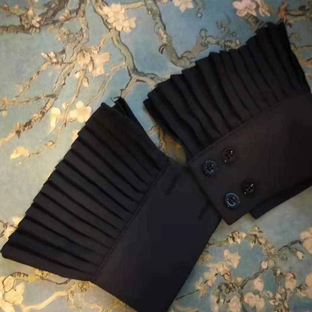 Xuebai Korean Retro Faltige Plissee Flare /Ärmel Falsche Manschetten Einfarbiger Pullover Dekorative Abnehmbare Armband Kleidung Zubeh/ör Gef/älschte Manschetten Schwarz