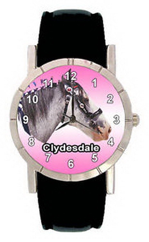 jwl0628 Clydesdale Horseメンズレディース本革クオーツMovement腕時計 B01N6HKZTX