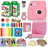 Fujifilm Instax Mini 9 Instant Camera + Fuji INSTAX Polaroid Film (40 Sheets) + Accessories Bundle - Carrying Case, Photo Album, Assorted Frames, Colorful Sticker Frames (EMOJI) +MORE (Flamingo Pink)
