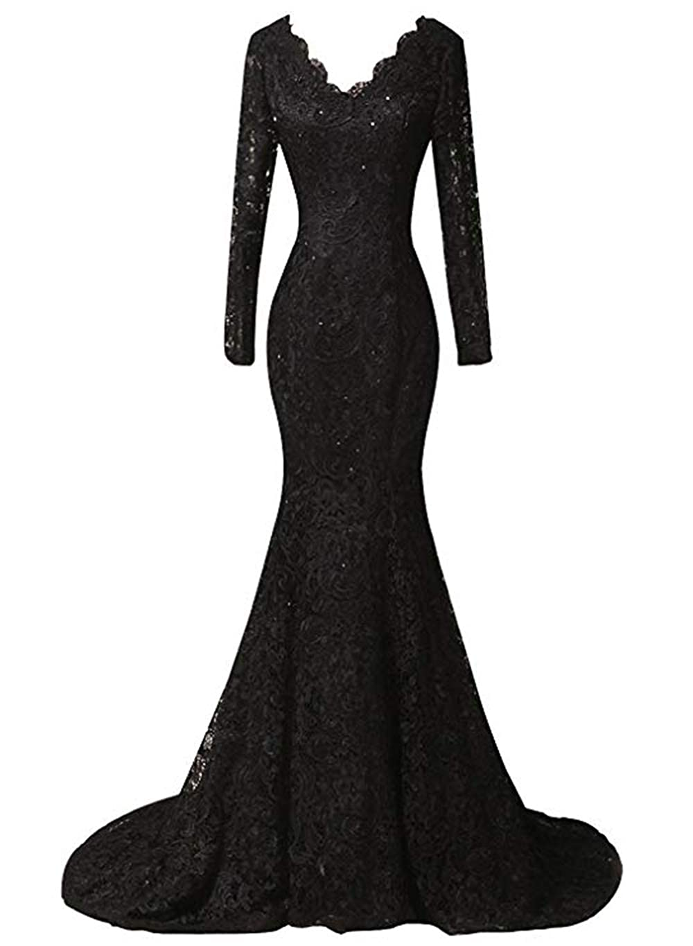 Black Ri Yun Women's Elegant Long Sleeves Lace Prom Dresses Mermaid VNeck Beaded Formal Evening Party Gowns