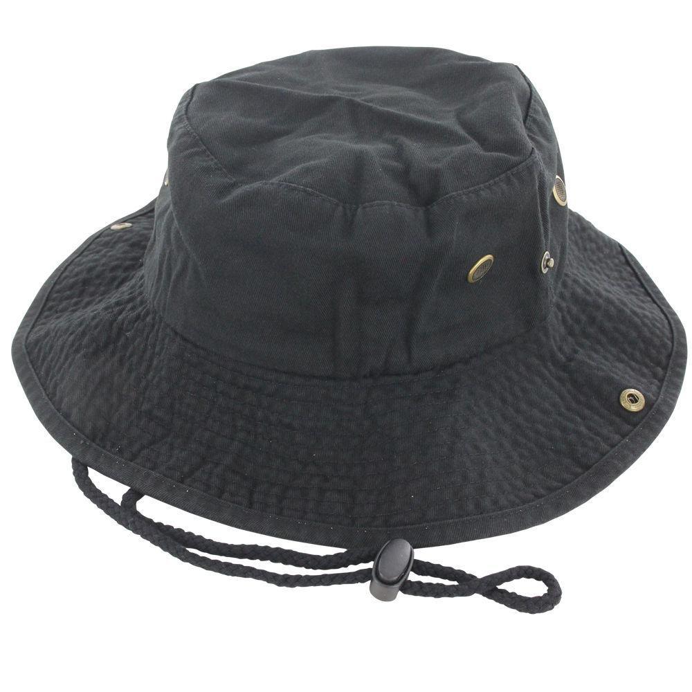 9Proud Black Cotton Hat Boonie Bucket Cap Summer Men Women by 9Proud