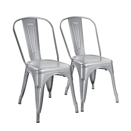 amazon com devoko tolix silver metal chairs indoor outdoor