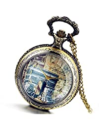 Lancardo Fashion Elegant French Triumphal Arch De Triomphe Pocket Watch Pendant for Lady with Gift Bag