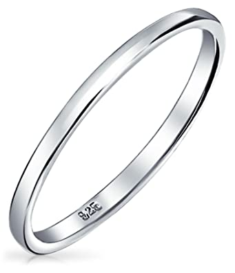 Bling Jewelry 925 Sterling Silver Wedding Band Thumb Toe Ring 2mm Grey 3