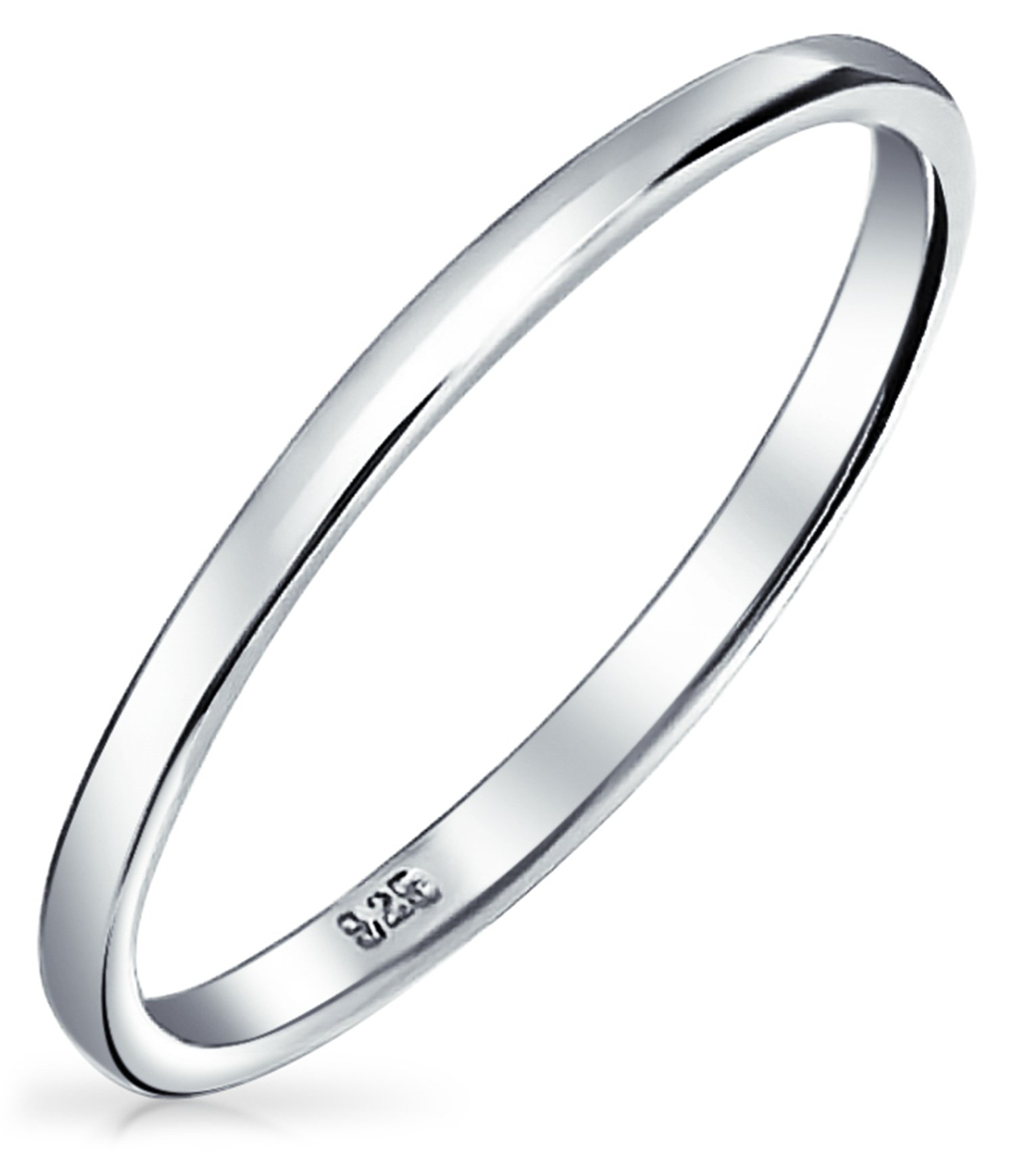 Bling Jewelry .925 Sterling Silver Wedding Band Thumb Toe Ring 2mm,Grey,11