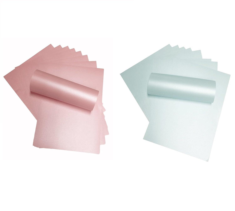 Syntego 20Blatt A4Baby Rosa und Baby Blau Perlglanz Papier Doppelseitig 120g/m² Geeignet für Inkjet und Laser Drucker jeweils 10Stück
