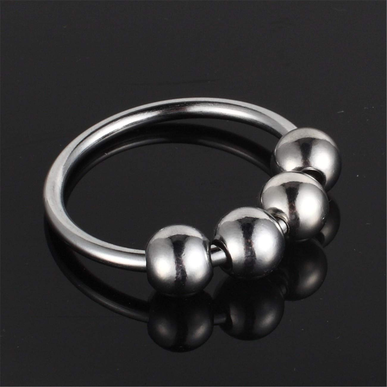Beads 40Mm Stainless Steel Male Penis Ring Delay Ejaculation Newest Arrival C-ock R-ing with 4 Vibrating Bullet Glans Silicone Vibrator Beads for Male Adult Sex Toy G7-32 Silver L by Carlos Foushee (Image #4)