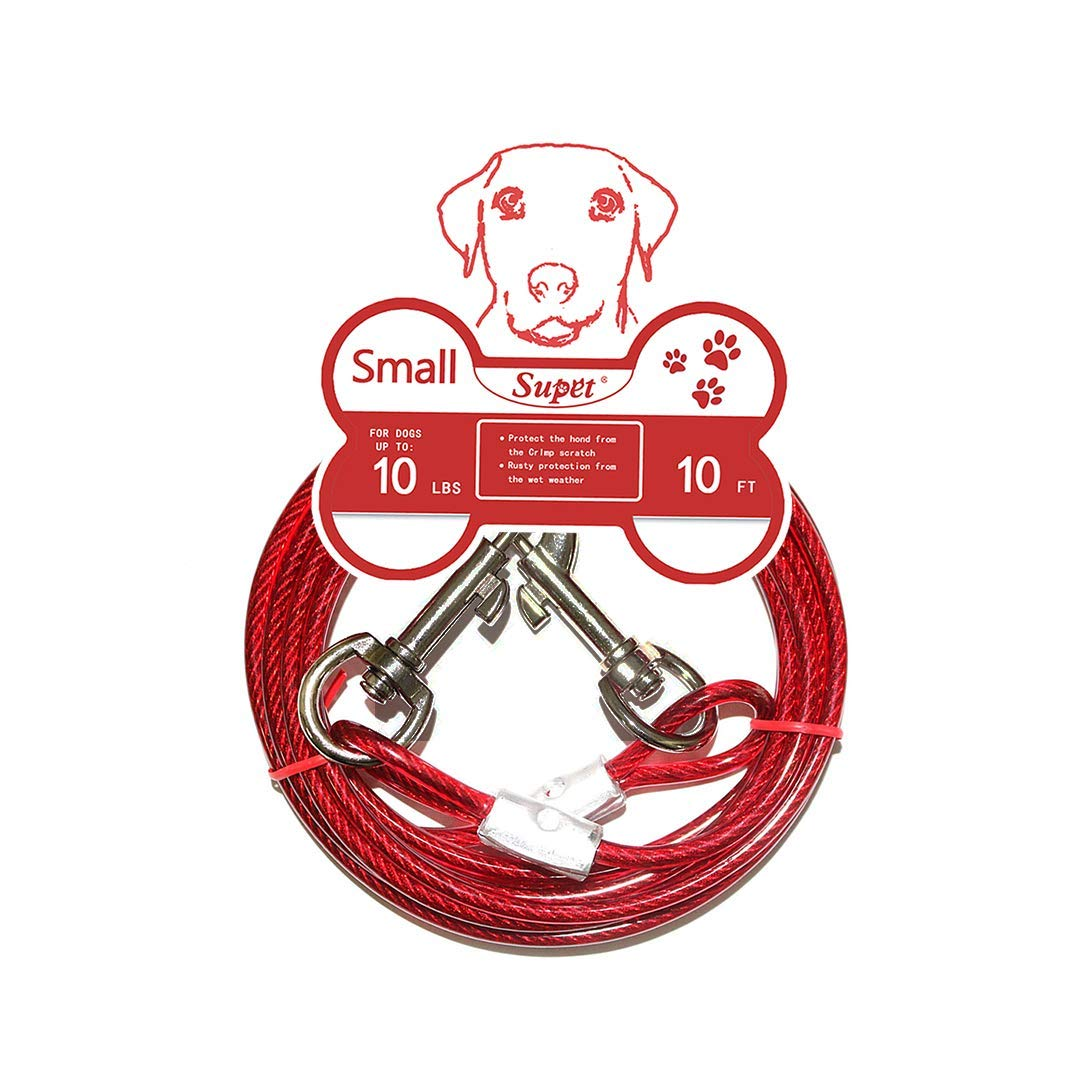 Double Heads Steel Wire Tieout Leash Chew Resistant with Anti-Winding Dog Metal Leash for Small Medium or Large Dogs Supet Tie Out Cable for Dogs