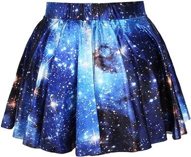 GYANOR Falda Plisada 3D para Mujer, diseño de Cielo Estrellado ...