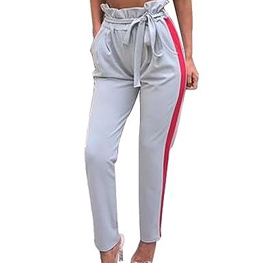 c74d982076b5 semen Femme Pantalon Pants Rayé Taille Haute Loose Jambe Large Ceinture  Mode Confort Casual Sport Running
