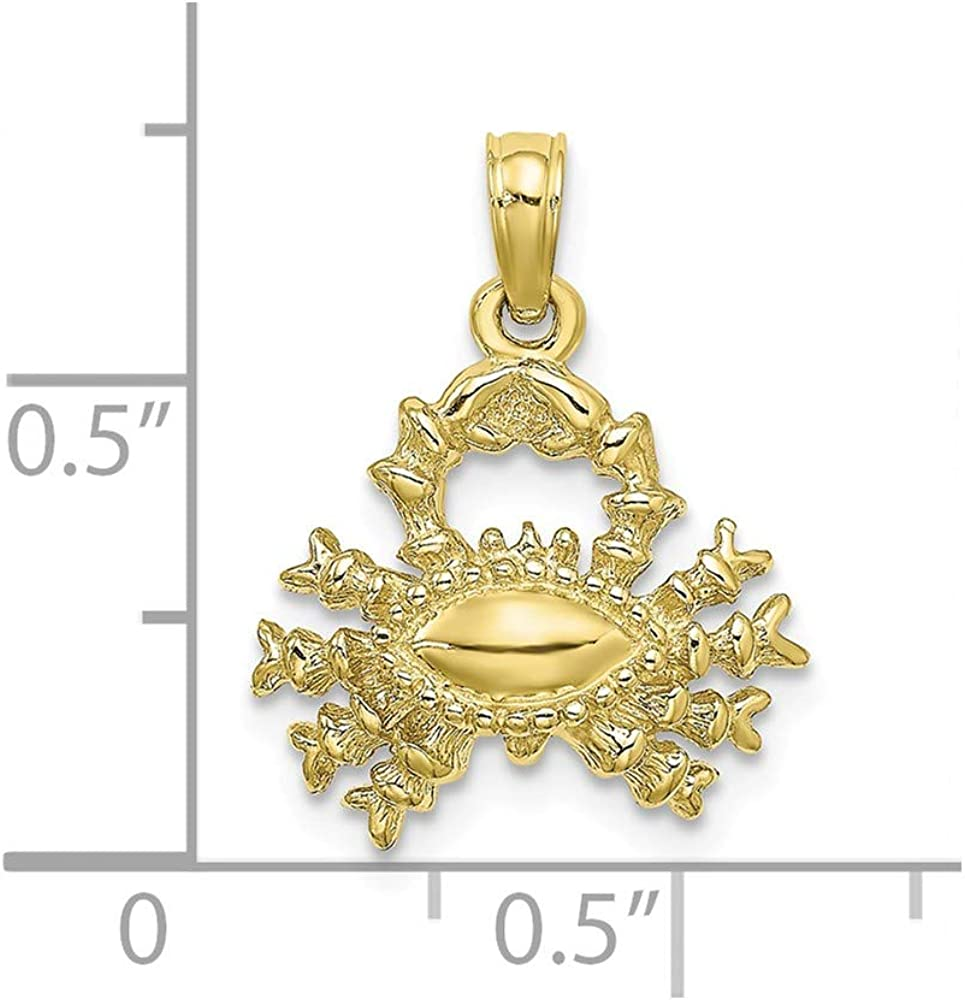 10K Yellow Gold 3-D Cancer Zodiac Charm Pendant