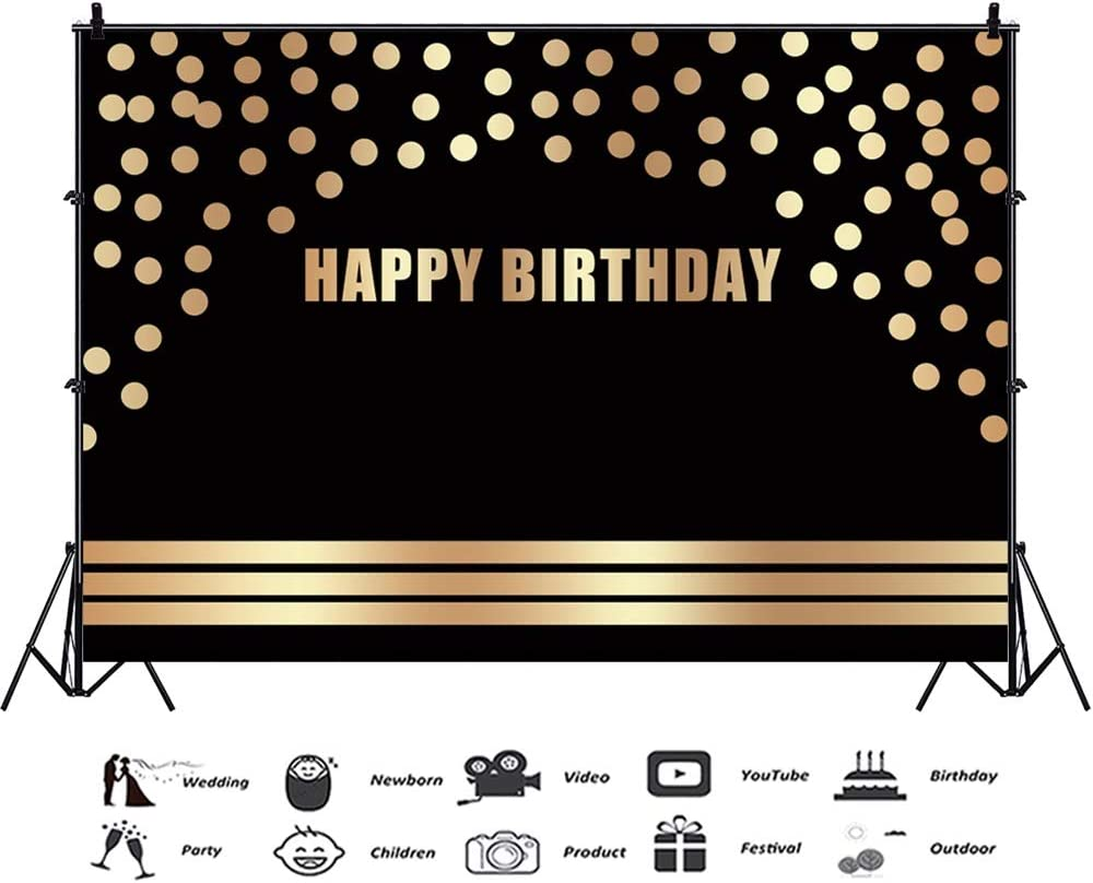10x6.5ft Happy Birthday Polyester Photography Background Arch Golden Spots Lines Black Backdrop Child Baby Adult Birthday Party Banner Cake Smash Childish Wallpaper