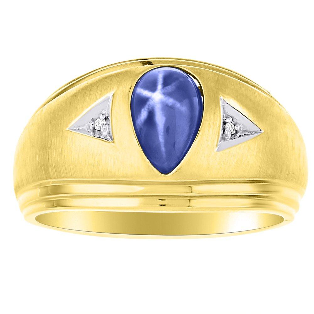 ブルースターサファイア&ダイヤモンドリングセットソリッド14 Kイエローゴールド B07BGH1WXR