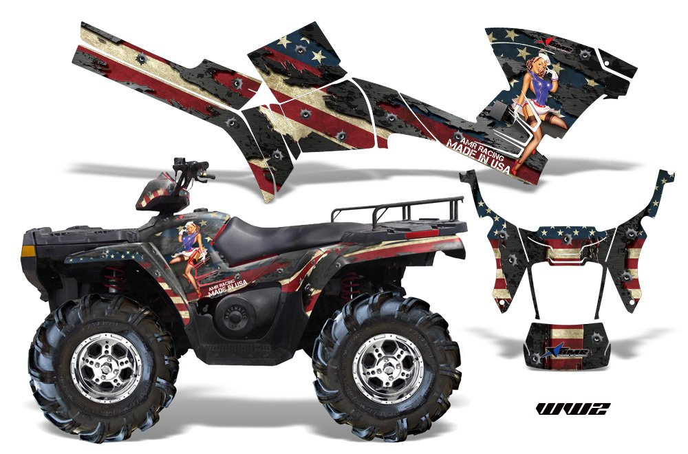 AMRRACING Polaris Sportsman 800/500 2005-2009 Full Custom ATV Graphics Decal Kit - WW2