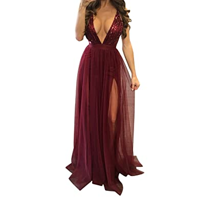 7f9225c745b LAEMILIA Womens Chiffon Spaghetti Strap Deep V Neck High Slit Maxi Beach  Dress Backless