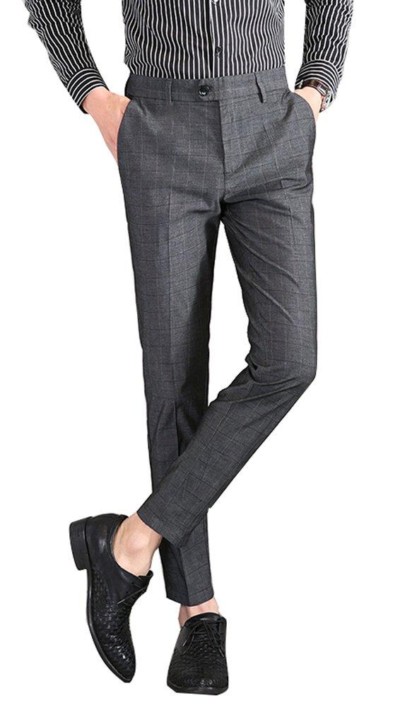 Plaid&Plain Men's Plaid Dress Pants Cropped Pants Men's Slim Dress Pants 1868Grey 31
