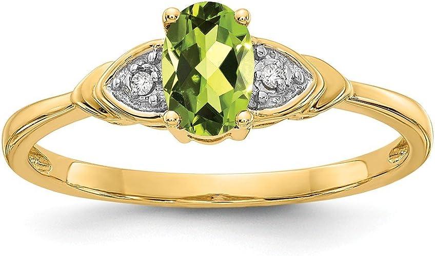14K Yellow Gold Diamond /& Peridot Ring 7 Size
