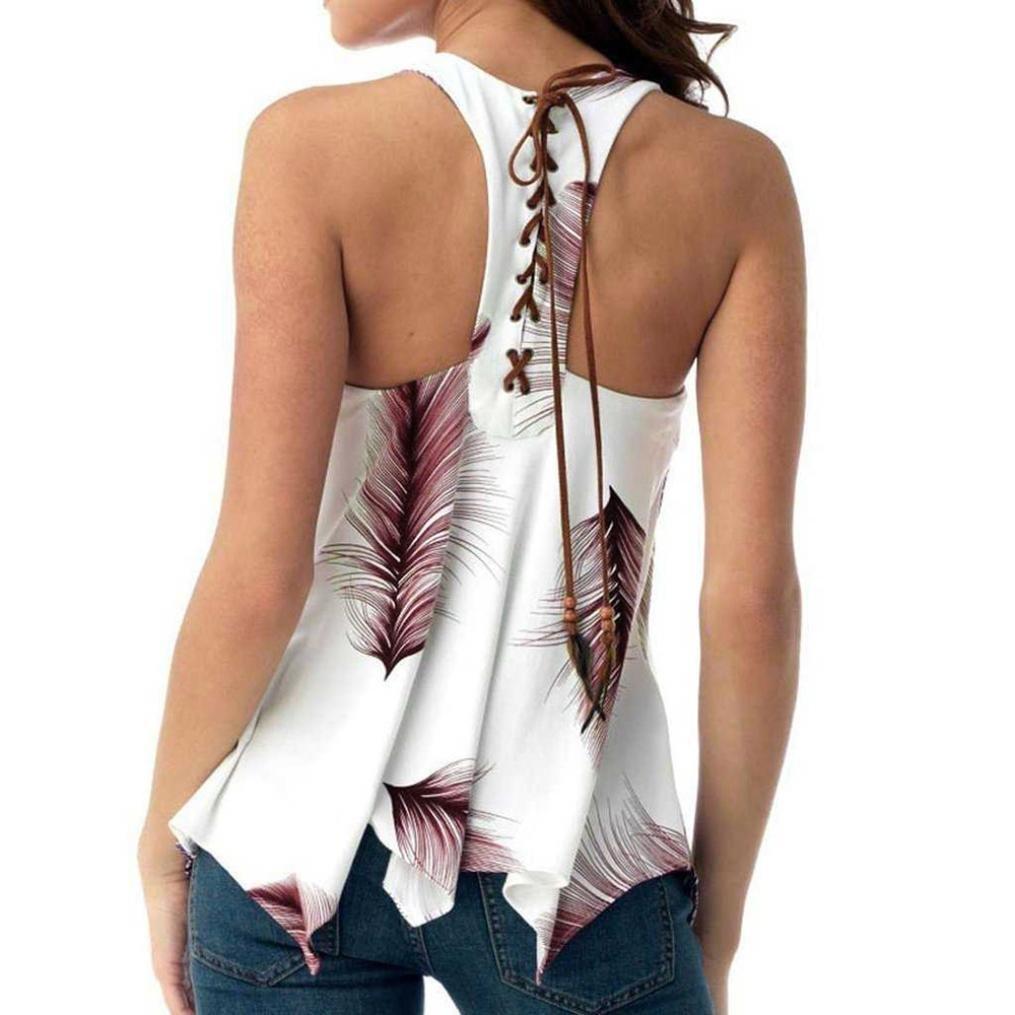 ❤️Femmes Plus Size Imprimer Bandage sans manches Tank Blouson Chemisier Tops Shirt Tefamore