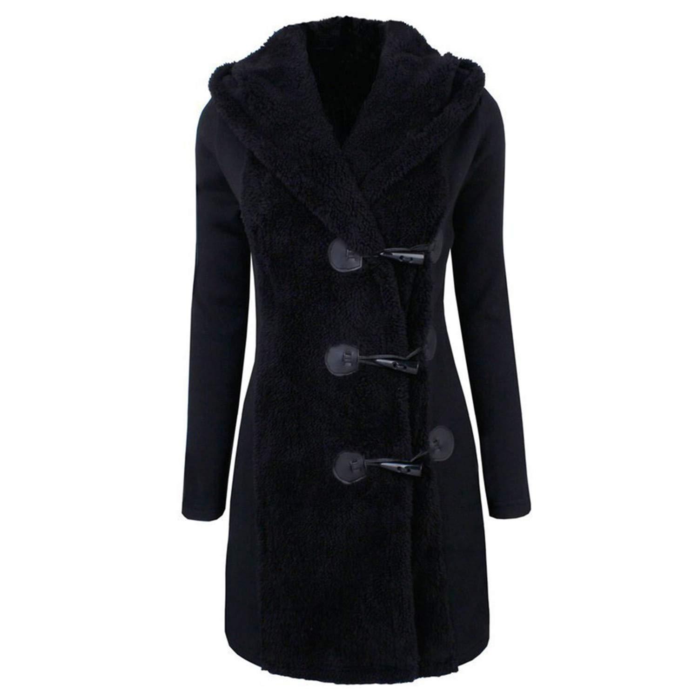 XIAOBAILONG Women Winter Hooded Coat Zipper Slim Patchwork Black Warm Vintage Overcoats